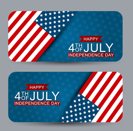 4th of July United States national Independence Day celebration banner set with American flag for a website header or advertisement