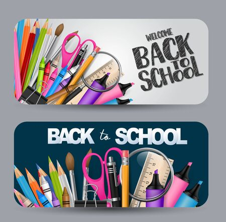 Back to school banner with a lot of supplies for education. vector illustration. Vettoriali