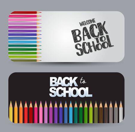 Bentornato a scuola - un set di banner con bordi arrotondati. Sfondo bianco e nero con matite colorate. Illustrazione vettoriale.