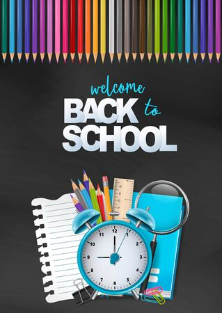 Welcome back to school colorful poster. Education flyer for advertisement, magazine, book cover, website. A pile of stationery with alarm clock, spy glass, ruler, book, torn piece of paper. vector illustration.