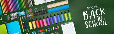 Green school board banner background with colorful bright education 3d realistic supplies. Design for advertisement, magazine, book, website header. Vector illustration. Illustration