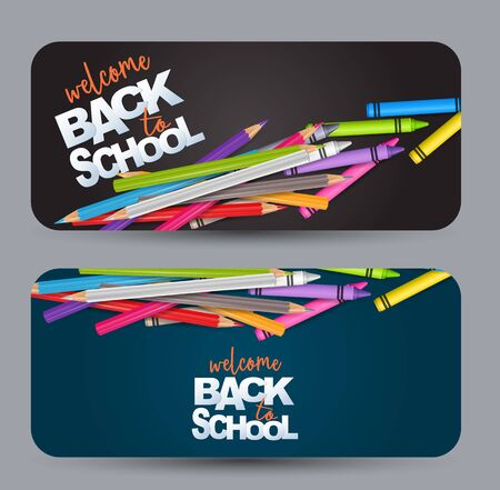 Welcome back to school design banner card with realistic colorful pencils and crayons. Vector illustration.