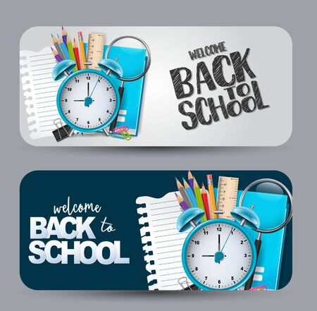 Welcome back to school - a set of banner with rounded edges.Vector illustration.