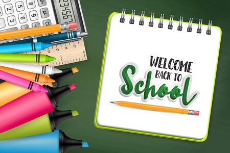 Welcome back to school sales banner, background, flyer, poster. Green chalkboard backdrop. Realistic vector illustration.