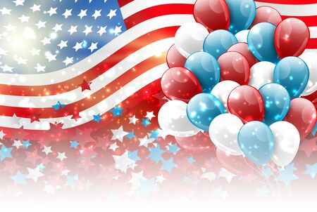 4th of July United States national Independence Day celebration glowing background with American flag, confetti, and balloons. Party concept. Vector illustration.