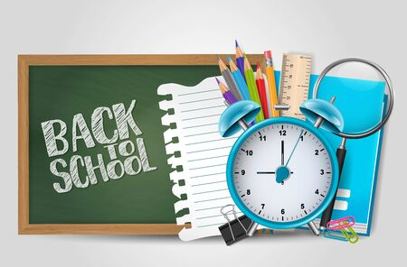Back to school poster with realistic 3d supplies. For pre-school, middle, high, collage, university. Vector illustration.