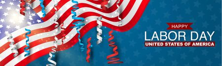 Happy Labor Day banner with USA flag and blue, red, and white ringlets. United States National holiday advertisment header design. Vector illustration.