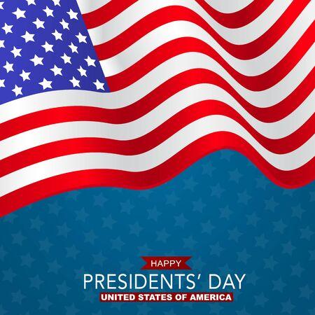 Happy Presidents day banner background. USA waving flag. American public holiday. Realistic vector illustration. Ilustração Vetorial