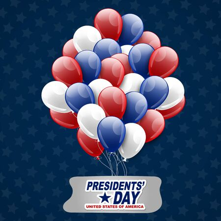 Presidents day background with red, white, and blue balloons. USA national public holiday. Vector illustration.
