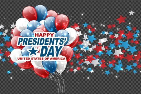 Presidents day sale background overlay. American flag colors blue, red, and white stars. Vector illustration. Ilustracje wektorowe