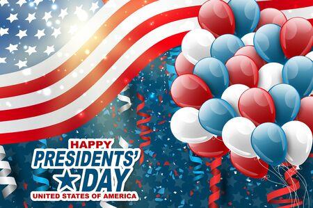 Szczęśliwy dzień prezydentów transparent tło. USA macha flagą z balonami i konfetti. Amerykańskie święto państwowe. Ilustracja wektorowa realistyczne. Ilustracje wektorowe