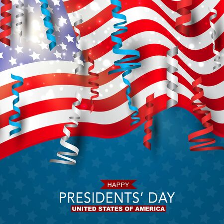 Happy Presidents day banner background. USA waving flag with balloons and confetti. American public holiday. Realistic vector illustration.