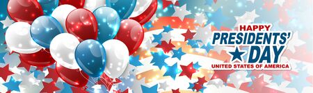 Happy Presidents day banner or website header. Newsletter design decor. USA national public holiday concept with american flag and balloons. Vector illustration.