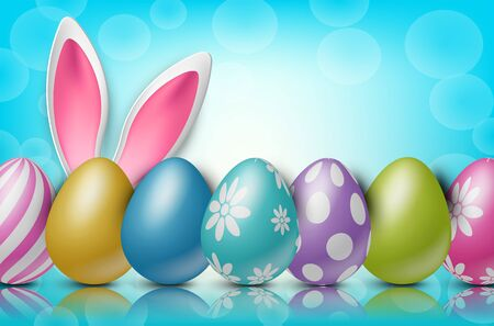 Easter background with painted 3d realistic egg and bunny ears behind on blue backdrop with bokeh. Vector illustration.