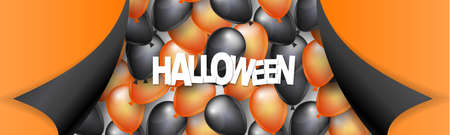 Halloween banner or header design with black and orange balloons and pealing off curved egdes wrapping paper. Vector illustration.