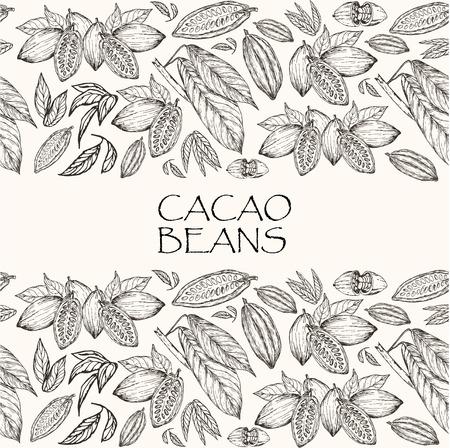 Vector illustratie. Element van naadloos patroon. Hand getrokken cacaobonen en cacao boom bladeren