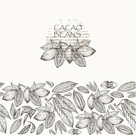 Vektor-Illustration. Skizzierte Hand gezeichnete Kakaobohnen, Kakaobaumblätter und Niederlassungen. Nahtloses Muster, Element der Markenart.