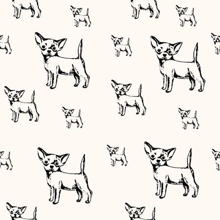ベクターイラスト。チワワの子犬のペン描かれたスケッチ。ベクトルシームレス犬のパターン。  イラスト・ベクター素材