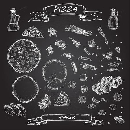 黒板にピザと食材。