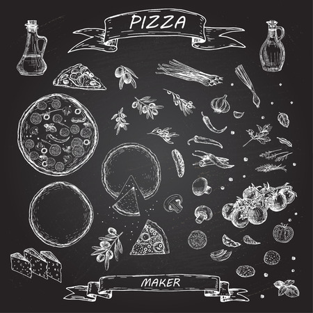 Pizza and ingredients on blackboard.