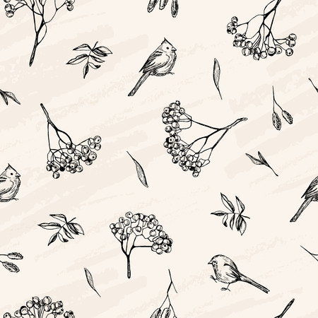 Vector seamless pattern. Vector sketch , pen style drawn birds, leaves and ash tree branches. Illustration