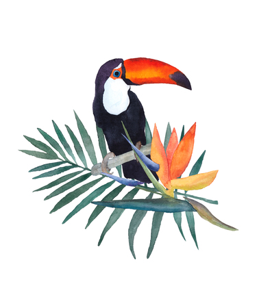 white fabric texture: Watercolor illustration on white background . Toucan, palm leaf and strelitzia flower. Hand drawn sketch. Print design. Stock Photo