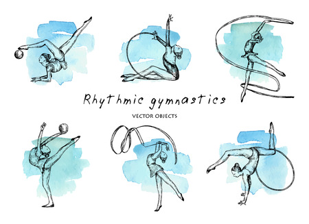 Vector illustration. Rhythmic gymnastics set. Girls gymnasts on watercolor background. Pen style vector sketch.