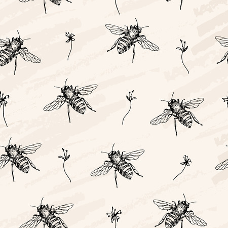 Vector seamless pattern. Bees and flowers. Craft paper background. Pen style sketch vector.