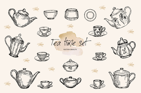 Vector illustration. Pen style vector sketch. Tea pots, cups and sugar bowls. Porcelain hand drawn set.