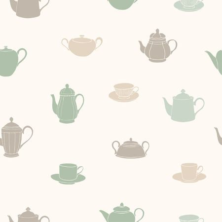 Vector illustration. Tea pots, cups and sugar bowls seamless pattern. Paper background. Fabric print.