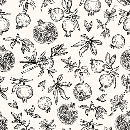 Vector illustration. Pen style vector seamless pattern. Pomegranates, cut pomegranate, branches and leaves.