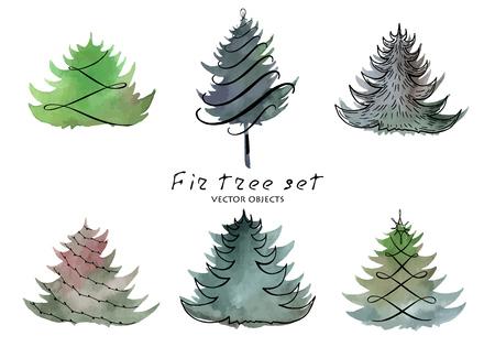 ベクトルイラスト。水彩画の背景にモミの木の要素。  イラスト・ベクター素材