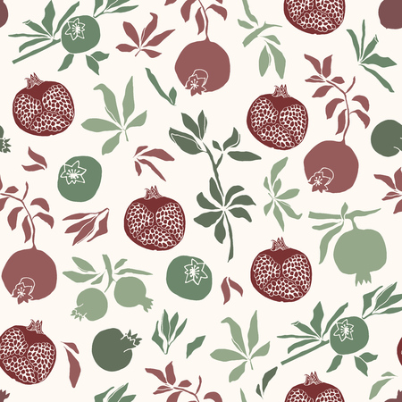 Vector illustration. Color vector seamless pattern. Pomegranates, branches and leaves.