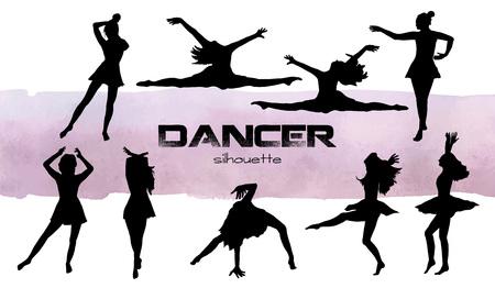 Vector illustration. Girls in dance silhouettes . Dancer set.