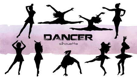 Vector illustration. Girls in dance silhouettes . Dancer set. Banco de Imagens - 95320454