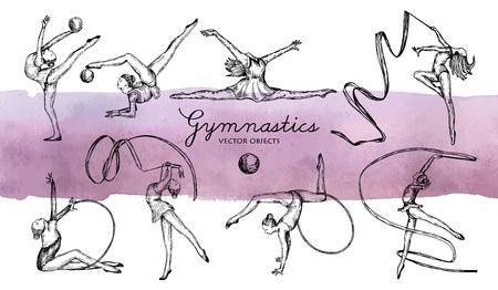 Rhythmic gymnastics set 矢量图像