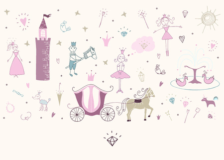 Vector illustration. Princess life. Vector objects color set . Fairytale. Çizim