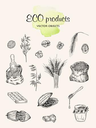 Eco products set vector illustration on light background.