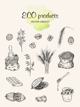 Eco products set vector illustration on light background.