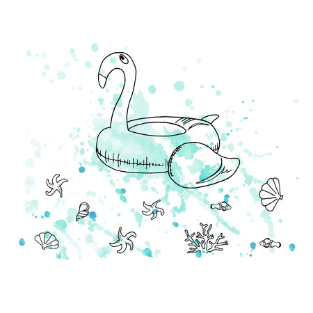Vector illustration. Pen style drawn flamingo rubber ring on watercolor background. Fish, sea stars, shells and coral. Line vector objects. Element of print design.