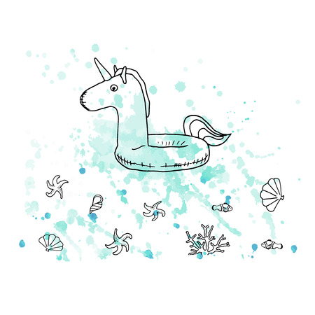 Vector illustration. Pen style drawn unicorn rubber ring on watercolor background. Fish, sea stars, shells and coral. Line vector objects. Element of print design. Vettoriali