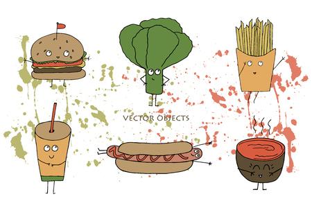 Illustration vectorielle. Élément d'impression drôle. Restauration rapide: hamburger, laitue, frites, hot dog, soupe et soda.