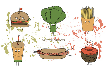 Vector illustration. Funny print element. Fast food: burger, lettuce, fries, hot dog, soup and soda.