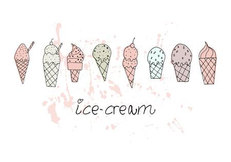 Vector illustration. Stylized ice cream set. Print design element. Cute vector objects. Vettoriali