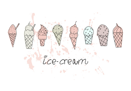 Vector illustration. Stylized ice cream set. Print design element. Cute vector objects. Ilustração