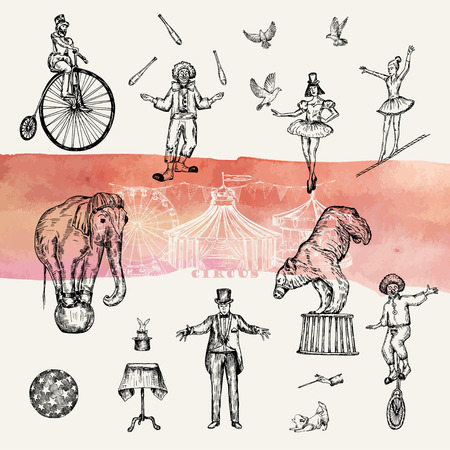 Retro circus performance set sketch stile vector illustration. Hand drawn imitation. Human and animals