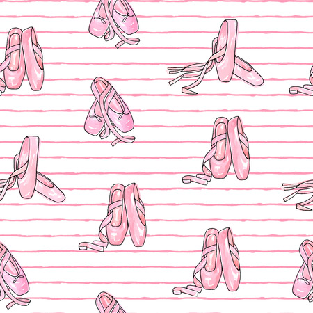 Vector illustration . Ballet accessories, pointes . Vector pen style objects set. Print design. Element of seamless pattern. Illustration