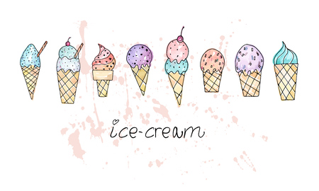 Stylized ice cream set. Print design element.