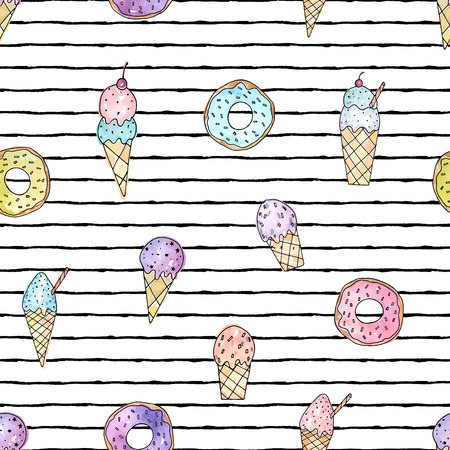 Vector illustration. Stylized ice cream and doughnuts on striped background . Print design. Cute vector objects. Element of seamless pattern.