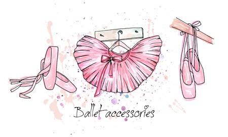Vector sketch. Ballet accessories, pointes and skirt. Vector pen style objects set. Print element.